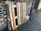 Wooden work platform and crate dumped