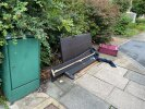 Parts of sofa, suitcase and desk fan dumped in Southbourne Gardens